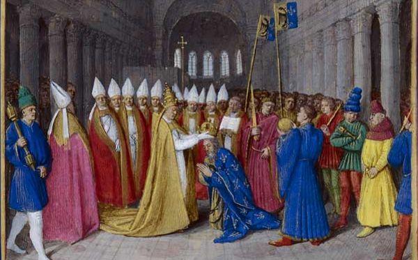 Charlemagne est sacré empereur en l'an 800 à Saint-Pierre de Rome.