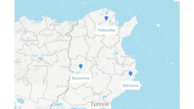 Des heurts ont eu lieu à Kasserine, à Tebourba et à Jbeniana.