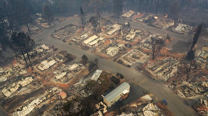 Une vue aérienne d'un quartier de Paradise détruit par «Camp Fire».