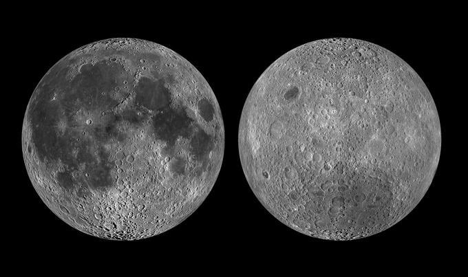 La face visible de la Lune, à gauche, et sa face cachée, à droite, imagées par la sonde américaine LRO lancée en 2009.