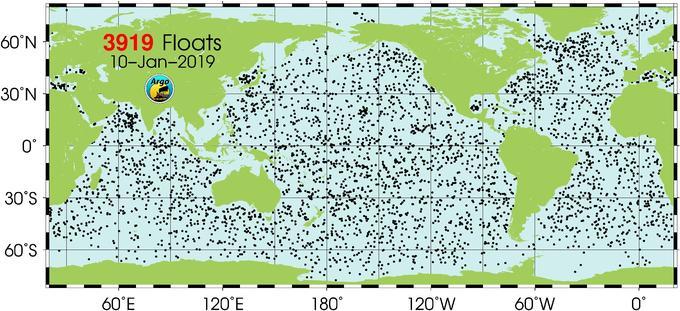 Localisation des 3919 balises Argo en activité dans l'océan.