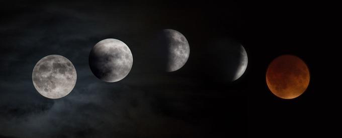 Les différentes phases d'une éclipse totale de Lune.