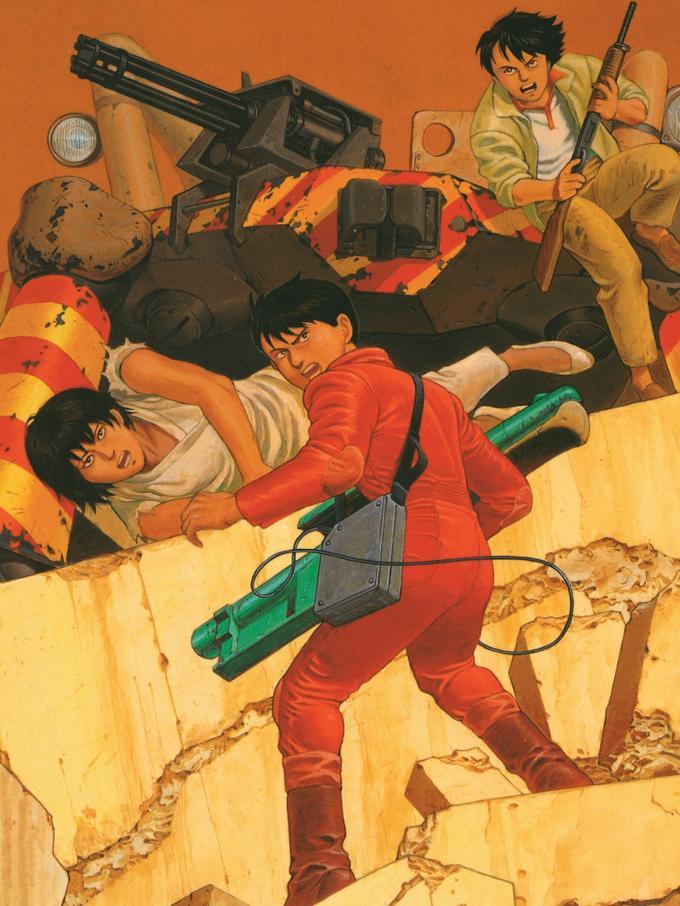 Kaneda, Kei et Yamagata en couverture de la réédition du tome 6 d'«Akira» publié au format original de parution par Glénat, en 2000.