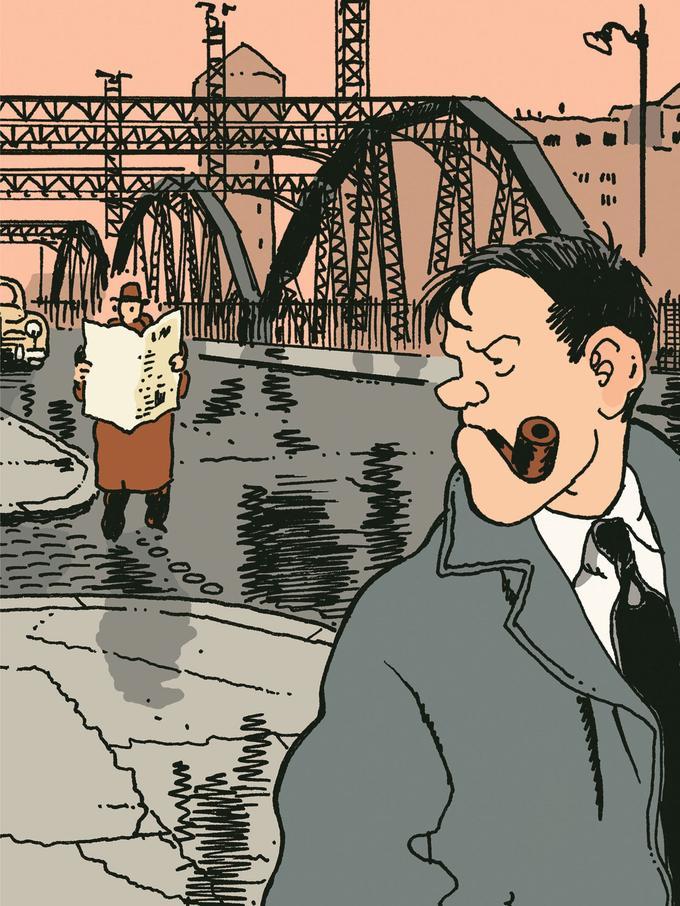 Image extraite de «Brouillard au pont de Tolbiac agrandie et mise en couleur à l'occasion d'une édition multiple mise en vente par la galerie Collin.
