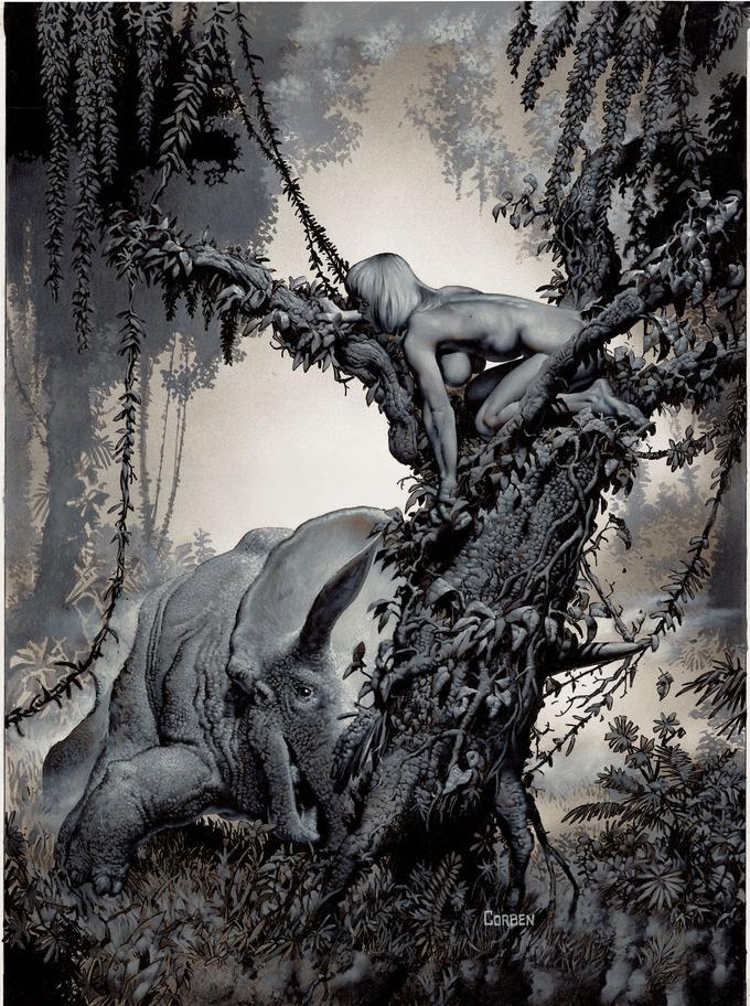 «Treed by Tryceratops», couverture parmi les plus iconiques de Richard Corben. Elle annonce la nouvelle «Si près… et pourtant, scénarisée par Bruce Jones, tout aussi culte.