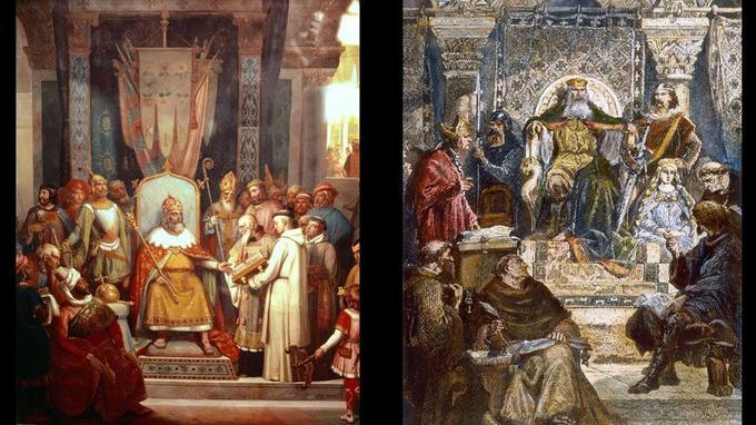 À gauche: le roi Charlemagne (768-814) et Alcuin (735-804), savant religieux anglo-saxon qui fut l'un des conseillers et des maîtres de l'école palatine fondée par Charlemagne, vers 781. À droite Charlemagne à la tête de l'école du Palais.