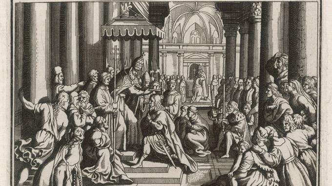 Couronnement de Charlemagne le 25 décembre 800 par le pape Léon III à Rome. Gravure.