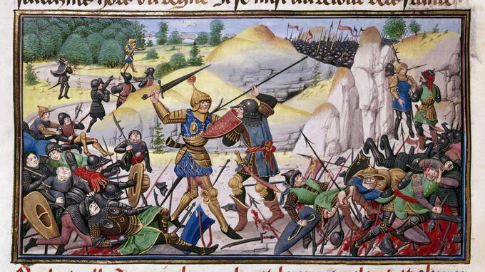 La mort de Roland, neveu de Charlemagne, lors de la bataille de Ronceveaux dans les Pyrénées en 778. Enluminure extraite d'un manuscrit flamand datant de 1462.