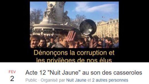 Capture d'écran de l'évènement Facebook de la «Nuit Jaune»