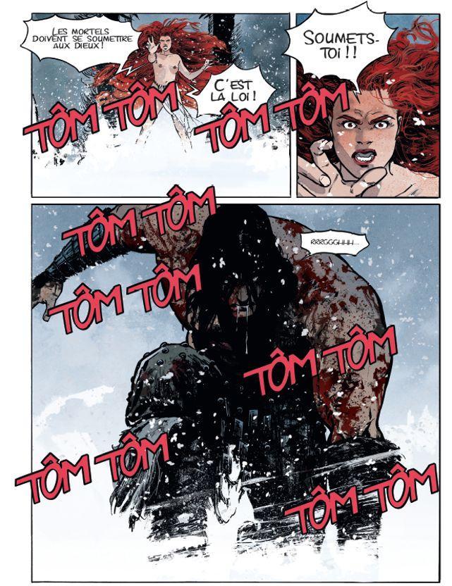 Robin Recht à propos du dessin de Conan: «J'ai cherché une posture qui traduise l'acte de résistance. C'est le moment où Conan est le plus lui-même dans l'album, c'est la quintessence du personnage. L'ombre de Schwarzenegger et de Milius planent au-dessus de ce dessin.»