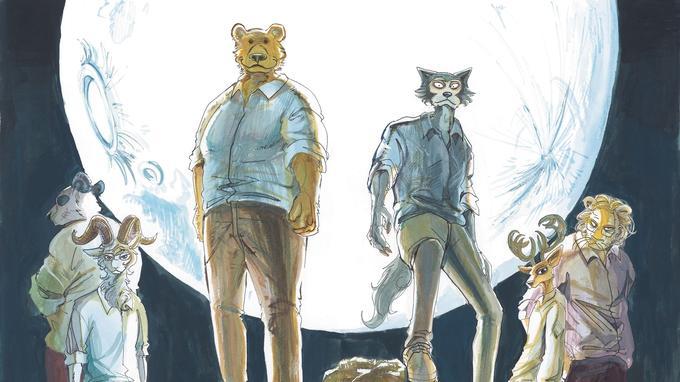Riz l'Ours et Legoshi le Loup sont au premier plan de cette illustration de Paru Itagaki.
