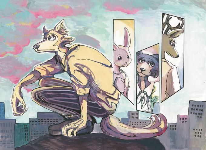Legoshi en gros plan, Haru la lapine naine, Juno la louve grise, et Louis le cerf sont mis en exergue, comme s'ils occupaient les pensés de Legoshi...