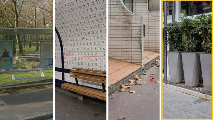 Dans <b>la catégorie du plus «fourbe»</b>, on retrouve, de gauche à droite: «à l'étroit» (un petit banc sous un abribus de Nantes), «discorde à Concorde» (dans le métro parisien), «la mauvaise pente» (à Toulouse) et «le pot aux roses» (des pics, toujours à Toulouse).