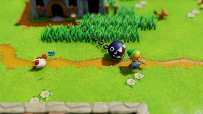 Link passe devant un Chomp, une créature issue de l'univers de Mario.