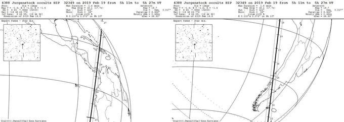 Prévision de la ligne sur laquelle l'occultation devrait être visible entre 5h11 et 5h27, en temps universel.