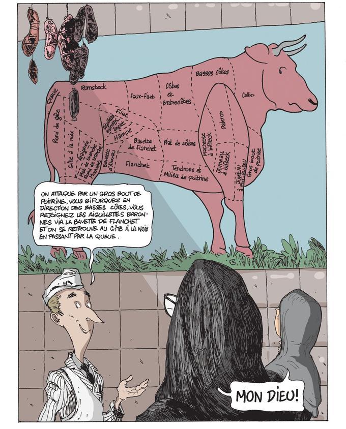 « <i>J'ai joué sur l'ambiguïté et les doubles sens</i>, s'amuse Chabert. <i>Car il y a de la sensualité dans les pièces de viande d'un boucher charcutier. La libido n'est jamais loin. Ce gros bœuf pas très rassuré qui domine la planche est vécu comme un animal vénéré. Presque le veau d'or. Les deux nonnes contemplent une image qui est de l'ordre du sacré...</i>»