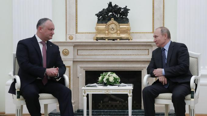 Igor Dodon et Vladimir Poutine à Moscou en janvier.