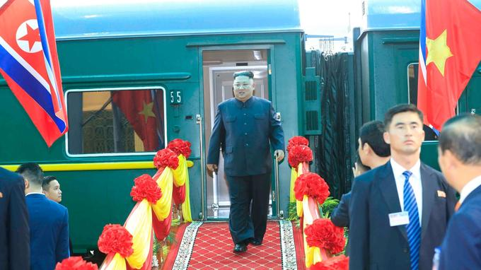 Kim Jong Un est arrivé à la gare de Dong Dang, au Vietnam.