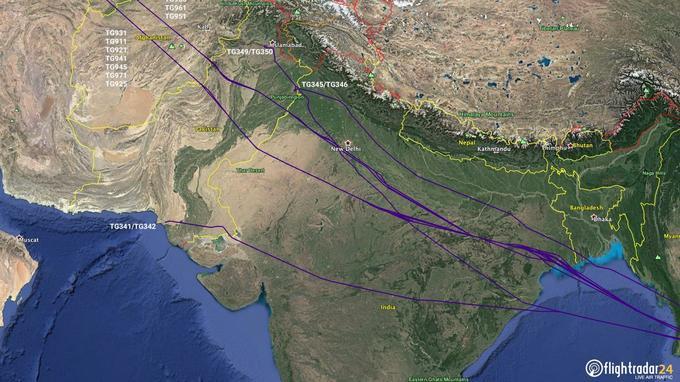 Les avions de la compagnie Thai Airways passent en général par le Pakistan.