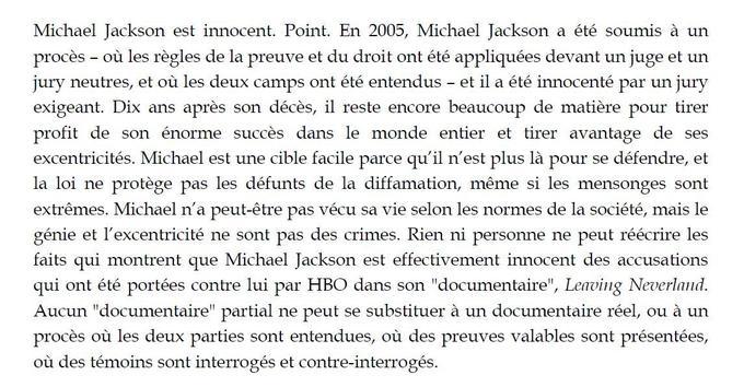 Extrait du mémoire pour plainte contre HBO déposé par la succession Michael Jackson.