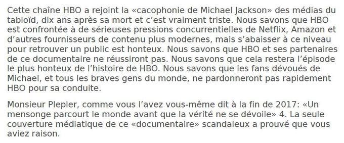 Extrait du courrier adressé le 3 mars par la succession Michael Jackson à la direction de HBO.