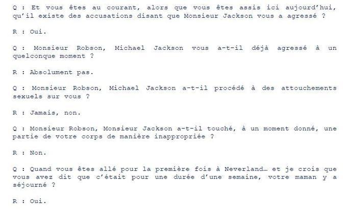 Extrait du témoignage de Wade Robson au procès de 2005, diffusé par les fan-clubs et la succession de Michael Jackson.