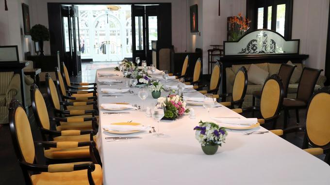 La table qui devait être utilisée pour le déjeuner entre les deux chefs d'Etat et leurs délégations.