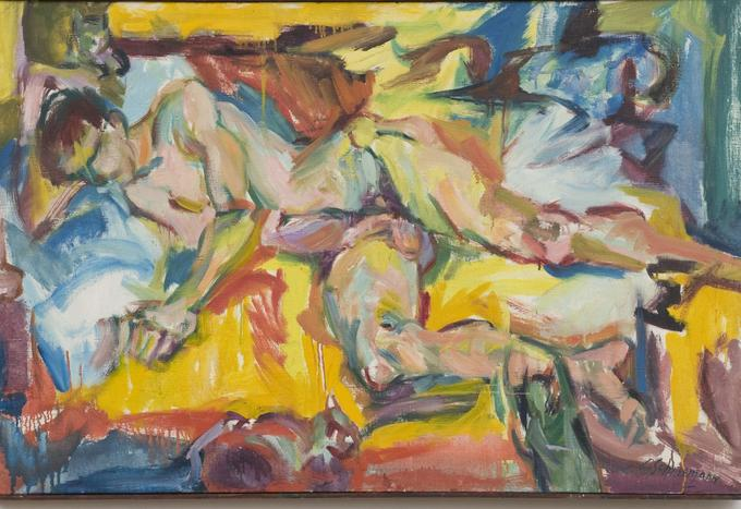 «Personae JT and three Kitch's», 1957, Carolee Schneemann, signé en bas à droite, huile sur toile (78.74 x 121.92 cm). Courtesy of the Estate of Carolee Schneemann, Galerie Lelong & Co., Hales Gallery, and P•P•O•W, New York © Carolee Schneemann