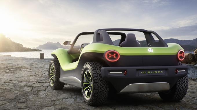 L'ID. Buggy est une propulsion, mais il est possible de lui greffer un second moteur électrique sur l'essieu avant afin de le doter d'une transmission intégrale.