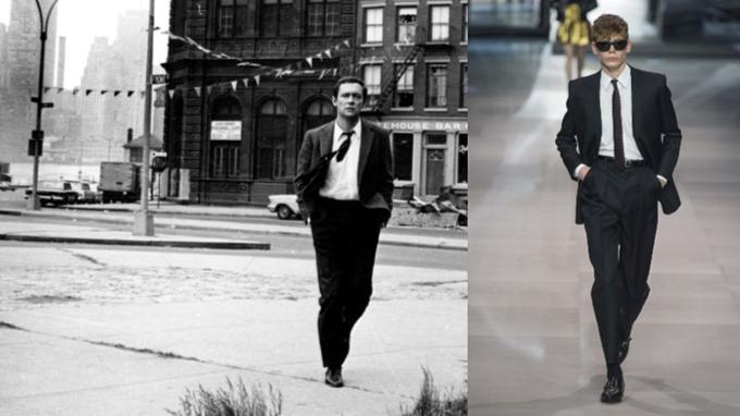 1. Maurice Ronet à New York dans les années 1960. Hedi Slimane est un admirateur de l'acteur. Ici, sur le podium Celine, un costume au pantalon deux plis, en laine et mohair.