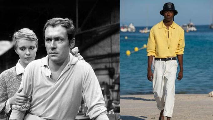 5. Maurice Ronet, en compagnie de Jean Seberg lors du tournage des <i>Grandes personne</i><i>s</i> de Jean Valère en 1960. Polo manches longues et pantalon clairs, toujours chez Jacquemus (défilé printemps-été 2019). <br/>