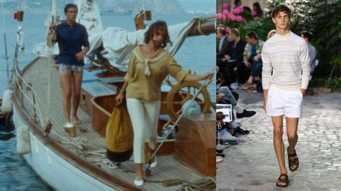3. Le short de Ronet dans <i> Plein Soleil</i> et celui de Véronique Nichanian pour Hermès (printemps-été 2019). <br/>
