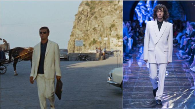 2. Scène extraite du film <i>Plein Soleil</i> de René Clément en 1960: le comédien porte un costume immaculé sur chemise noire. Une réinterprétation radicale - épaules carrées et double boutonnage - chez Balenciaga cette saison.