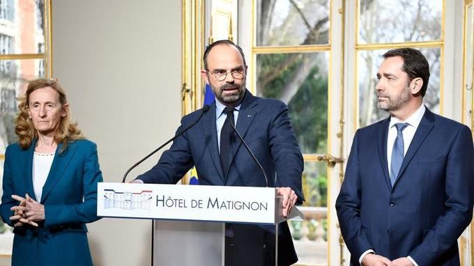 Nicole Belloubet, Édouard Philippe et Christophe Castaner, lundi à Matignon.