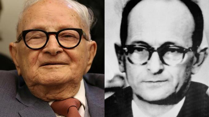 À gauche, Rafi Eitan, à droite Adolf Eichmann.