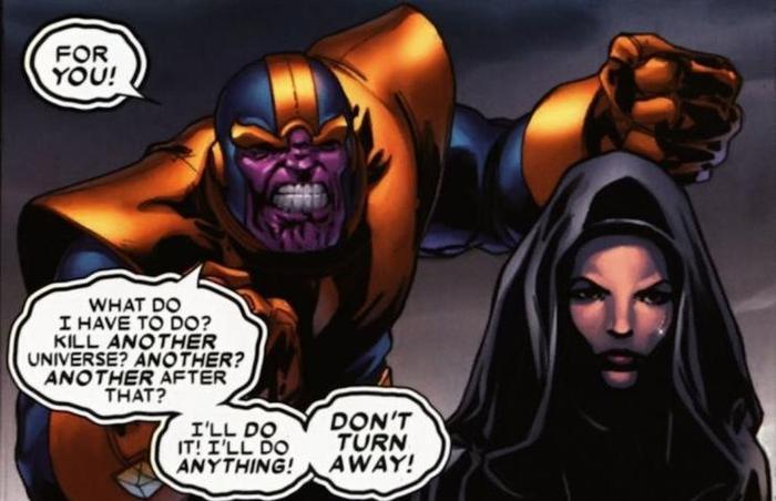 Thanos parlant à La Mort lors de <i> Infinity War</i>