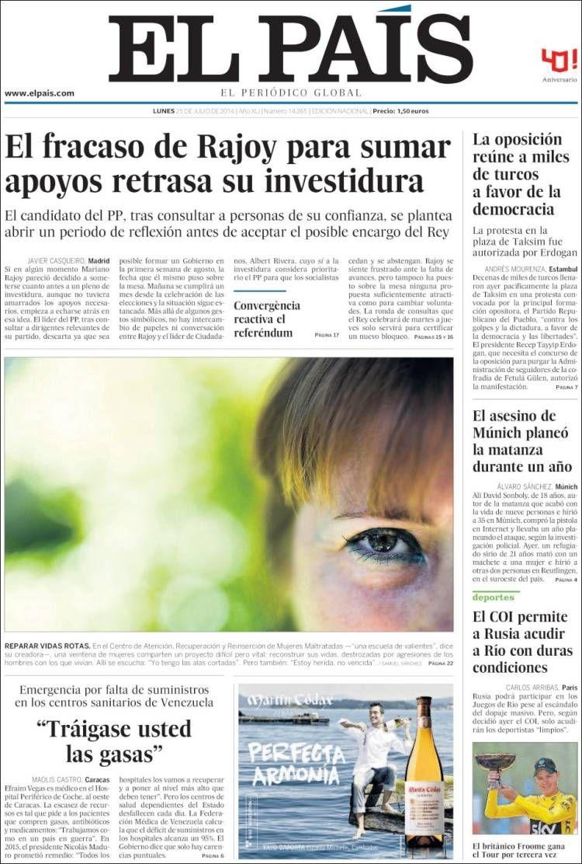 La Une d' El País du 25 juillet 2016