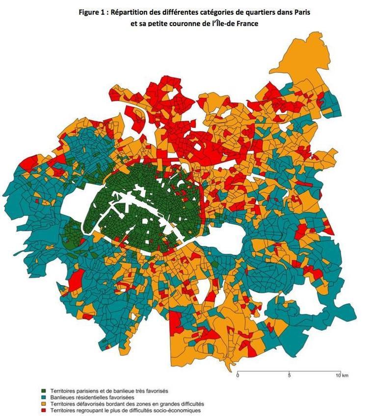 Carte provenant du Panorama des inégalités scolaires d'origine territoriale dans les collèges d'Île-de-France , publié par le CNESCO.