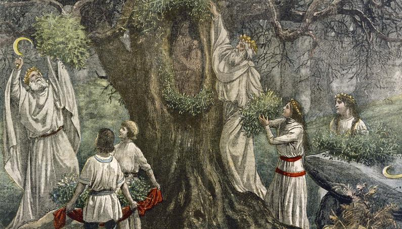 Les druides cueillent le gui à l'occasion du nouvel an, illustration extraite du journal «Le Pélerin» en 1922.