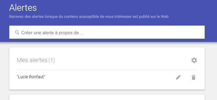 La page dédiée aux alertes sur Google