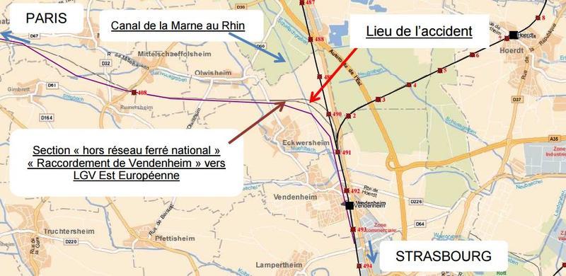 Le lieu de l'accident, tel que présenté par le rapport interne de la SNCF du 19 novembre 2015.