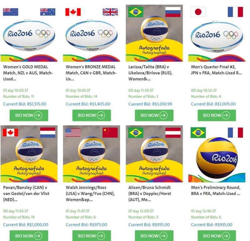 Capture d'écran sur site d'enchère de Rio 2016.