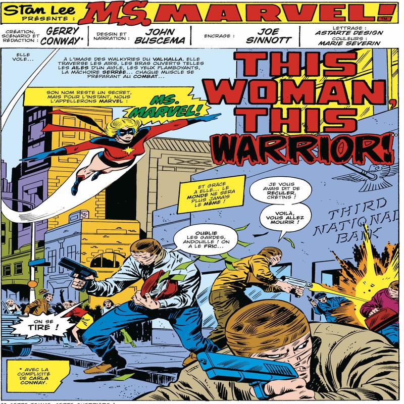 Cette case tirée de la 45e page de l'anthologie <i>Je suis Captain Marvel</i> publié aux éditions Panini, signe le retour au premier plan de Carole Danvers, alias Ms. Marvel huit ans après une première - brève - apparition dans Mar-Vel en 1969. Elle changera de nom en 2011 pour devenir Captain Marvel.