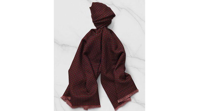 Echarpe en twill de laine à motif ovale et pois, De Fursac, 145   8364 . 63096ae35af