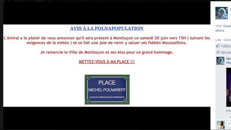 Michel Polnareff annonce l'inauguration d'une place à son nom à Montluçon.