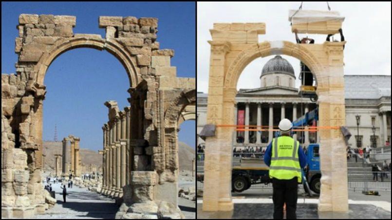 Cette copie de six mètres de hauteur n'est qu'une version réduite du monument original dont il ne reste que les deux colonnes porteuses.