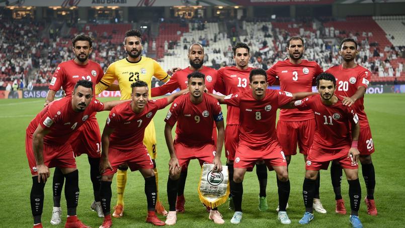 L'équipe du Yémen avant d'affronter l'Iran, lors de la 1ère journée.
