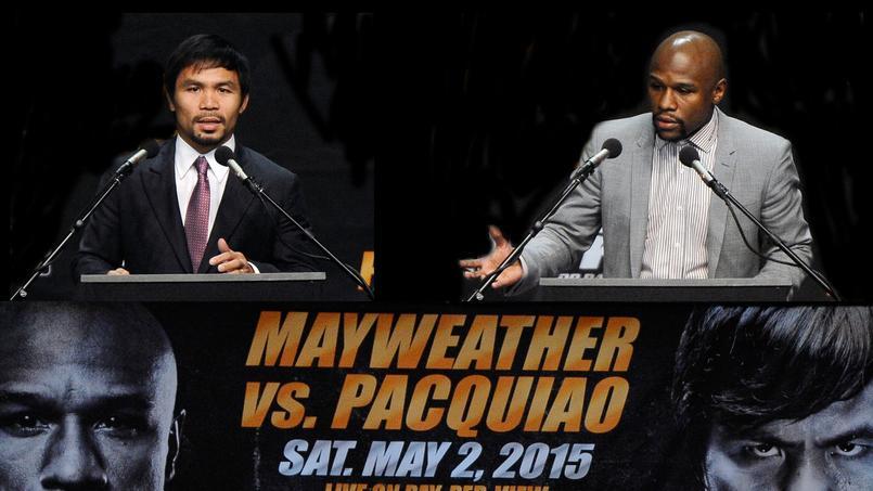 Floyd Mayweather et Manny Pacquiao en conférence de presse.