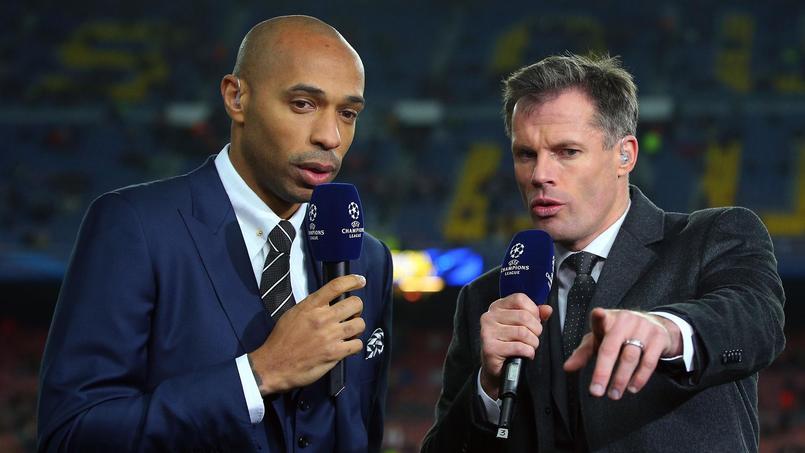 Thierry Henry, consultant vedette de la chaîne Sky Sports, avec Jamie Carragher.
