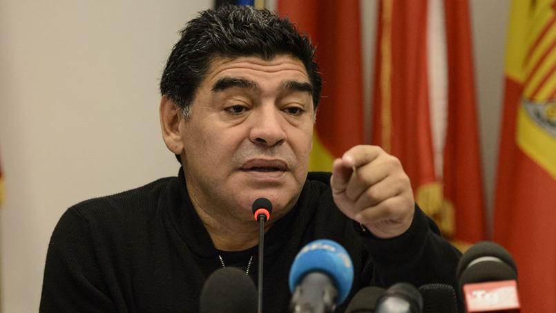 Diego Maradona en 2014 lors d'une conférence de pressse.
